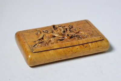 18C Antique Baroque Hand Carved Birch Wood Box Venus and Neptune Train
