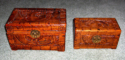 2 Carved Relief nesting ASIAN Wood Chest Jewelry trinket Chinese Boxs large EUC