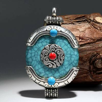 Collect China Old Miao Silver Armour Turquoise Hand-Carved Flower Noble Pendant