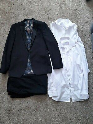 Next Limehaus Pattern Inside, Black Suit, Black Trousers, White Slim Fit Shirt