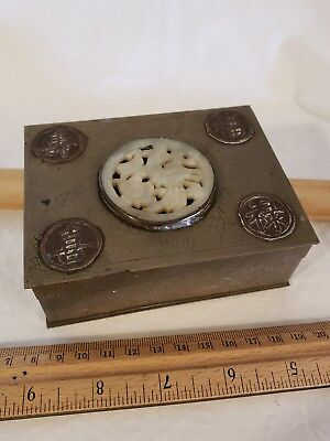 Antique Chinese Brass Square Cigarette Box With Wooden Interior Cool Antique