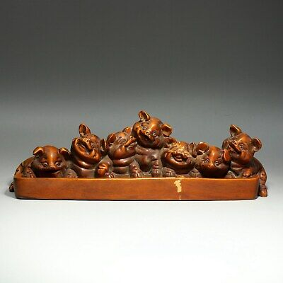 Collect Handwork Antique Boxwood Carve 7 Lovely Little Pig Delicate Decor Statue