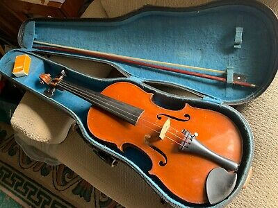 Antique 19th Century Conservatory Violin 4/4 Strad Copy, BOW & CASE GERMANY