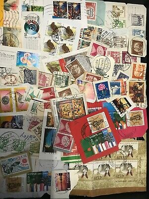 World Stamp Clippings Kiloware From Charity Source (lot240)