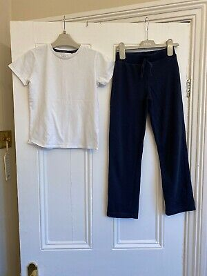 Girls Navy Blue School P.e Joggers & White Top Age 7 Years Next George