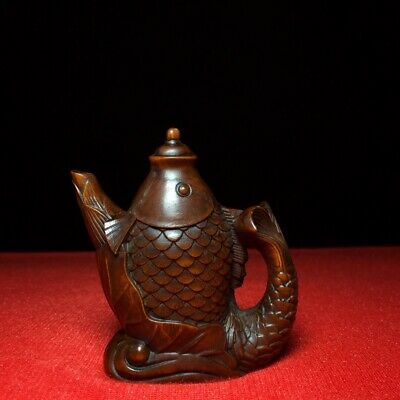 Collectable China Old Boxwood Hand-Carved Fish Moral Auspicious Tea Pot Statue