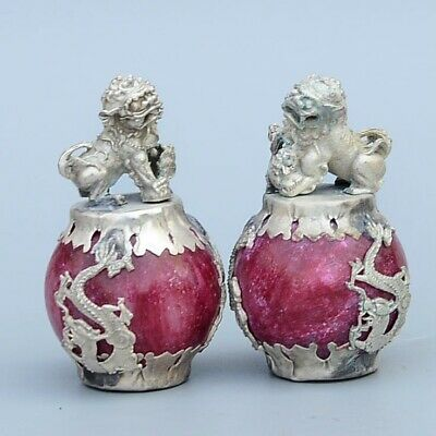 Collect China Old Miao Silver Armour Agate Hand-Carved Lion & Myth Dragon Statue