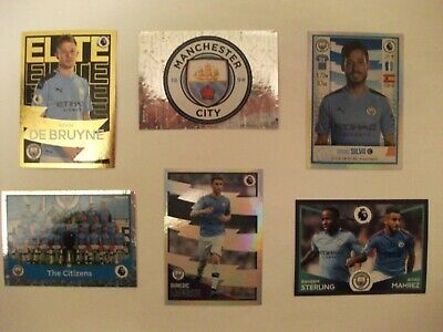 Panini Football Premier League 2020 - 6 Manchester City stickers including foils