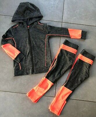 Next Girls Grey Coral Gym Activewear Outfit Tracksuit Jacket Leggings 4 Years