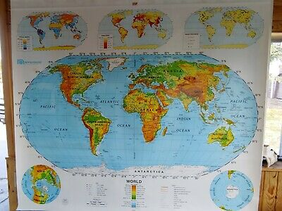 pull down school maps WORLD /& U.S 65 x 53 first learners map by NYSTROM