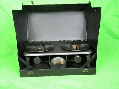 Vintage Kerosene Camp Stove 2 Burner in Carry Case With Tools Rare