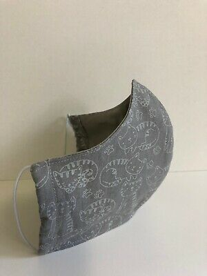 Washable Cotton Face Mask Grey Cats