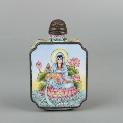Chinese Exquisite Handmade Guanyin copper Enamel Snuff Bottle