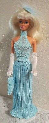 Ooak 4 Many Barbie Body Types ~ 2 Pc. Teal Gown Ensemble + Bag, Gloves & Jewelry