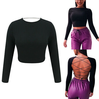 Women's Black Long Sleeve Party  Bandage Sexy Backless Bodycon Blouse