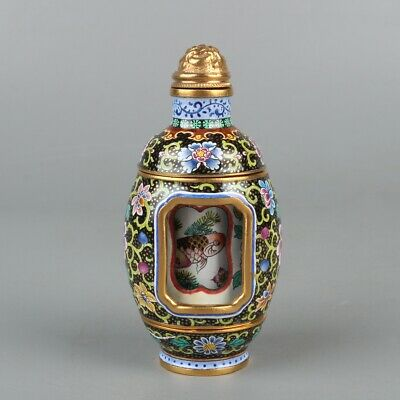 Chinese Exquisite Handmade fish Rotatable copper Enamel snuff bottle