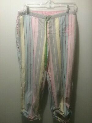 Victoria Secret Pink Candy Striped Sleep Lounge Crop Capri Pants Sz Sm.