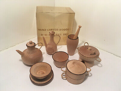Vintage Hand Carved Wooden Mini Kitchen Set 13 Pieces NEW #8