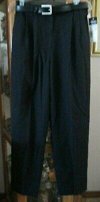 Requirements Dress Pants/Slacks Sz. 12 Black Belted Classic Fit Nwt Nice Excell.