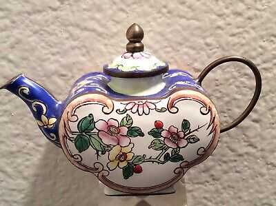ANTIQUE TEAPOT QING DYNASTY VASE PAINTING URN Chinese CLOISONNE BRONZE Statue