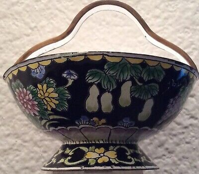 ANTIQUE BOWL CUP QING DYNASTY VASE PAINTING URN Chinese CLOISONNE BRONZE Statue