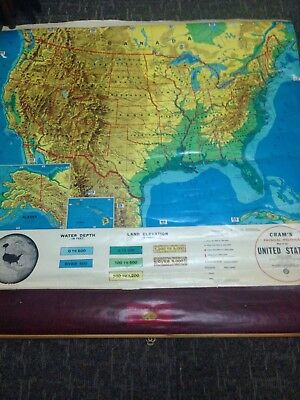 US Vintage School Wall Map, Cram's Physical-Political