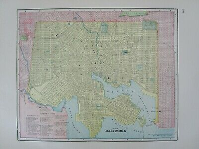 1896 BALTIMORE City Map Historic 19th Century DEPOTS, THEATERS, HOTELS, CHURCHES