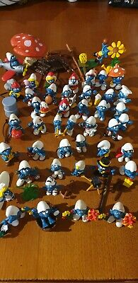 Smurfs figurines vintage 44 smurfs with odds and ends