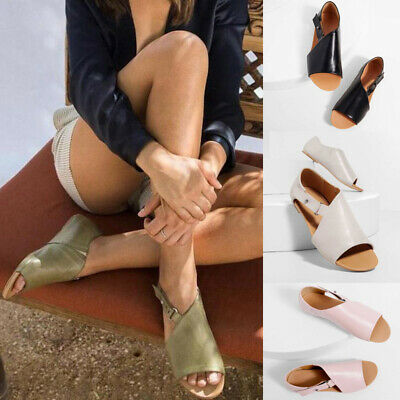 Womens Ladies Peep Toe Buckle Flat Sandals Summer Holiday Boots Shoes Size 4-7.5