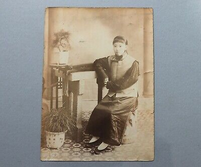 Antique Chinese Photograph of a Young Woman China with Porcelain Vase on Table