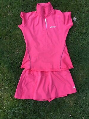 girls asics tennis top / skirt outfit size xs roughly age 10-13