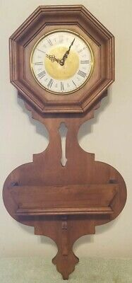 """Vintage Tell City Chair Co. 29"""" Wood Planter Wall Clock - Needs New Movement"""
