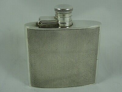 SUPERB, ART DECO  style, solid silver HIP FLASK, 1950, 73gm