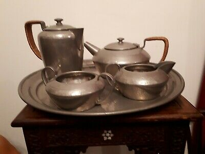 Liberty's Antique Pewter Tudric Stamped 5 pc Teaset Tray Archibald Knox Haseler