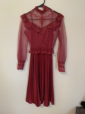 Vtg Victorian Style Dress Red Lace Steampunk Cosplay Sz 10