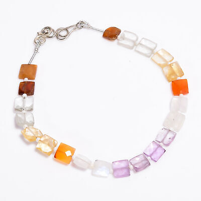 Natural Amethyst Carnelian Moonstone Gemstone Square Faceted Beads Bracelet 8-9""
