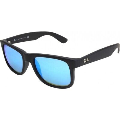 Ray-Ban Sunglasses Justin 4165 622/55 Rubber Black Blue Mirror Large 55mm