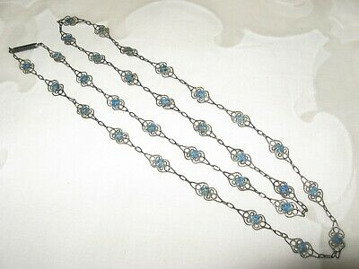 Vintage Chinese Export Silver Filigree Blue Enamel Link Necklace