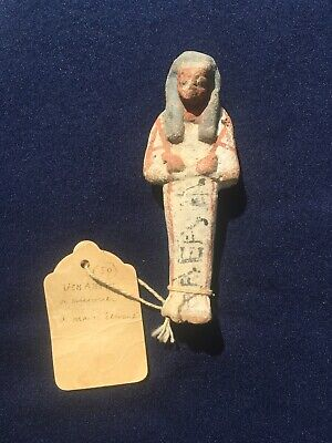 Ancient Egyptian Polychrome Ushabti Early Label