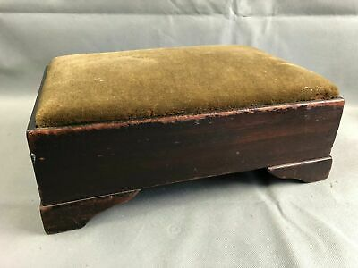 Antique Empire Mahogany Wood Green Velvet Foot Stool