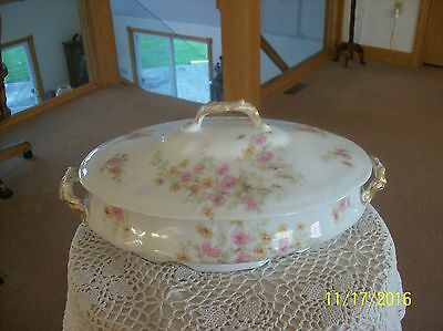 Limoges France Antique Porcelain China Covered Vegetable Yellow & Pink Floral