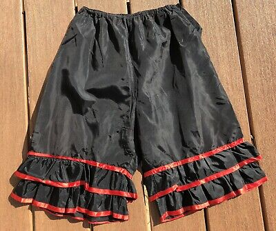 Vintage Black BLOOMERS PANTALOONS KNICKERS DRAWERS PETTIPANTS Red Ribbon