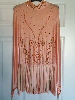 Peach Sequin Ice Skating Outfit