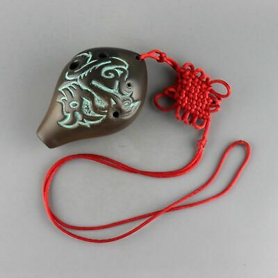 Collect Handwork Old Ceramics Carve Myth Dragon & Chinese Knot Unique Ocarina