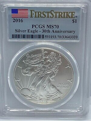 2016 PCGS MS70 Silver Eagle $1 First Strike 30th Anniversary Flag Label