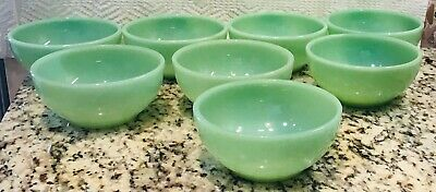 """8  Fire King Oven Ware  5"""" Jadite Chili Cereal Bowls Very Good Condition"""