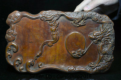 "12"" Rare Old Chinese Huanghuali Wood Dynasty Carving Dragon Inkstone ink-slab"