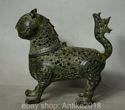 "7.2"" Old Chinese Bronze Dynasty Palace Deer Beast Statue Incense Burner Censer"