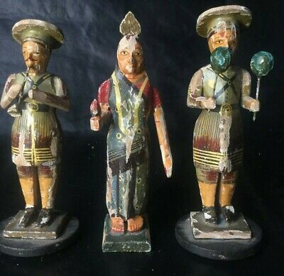 18C 3 Pc CARVED WOOD & Natural Color MUSICIAN Statue SET Figurine LOT SIGN RARE
