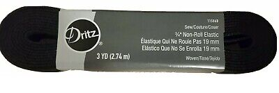 """Black 3/4"""" Wide non roll Elastic - 3 Yard stretch band sewing masks crafts"""